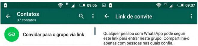 Novo botão aparece na parte superior da tela de convite nos grupos do WhatsApp