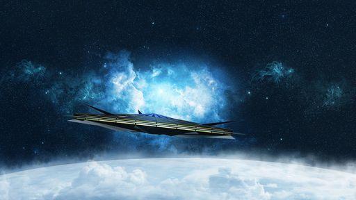 Este conceito mostra uma espaçonave tripulada capaz de viajar a outras estrelas
