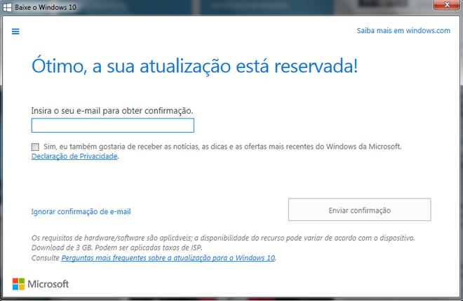 Formulário de inscrição para receber o Windows 10 gratuitamente