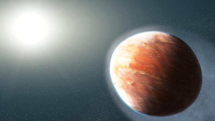 Hubble registra rastro de metais pesados escapando da superfície de exoplaneta