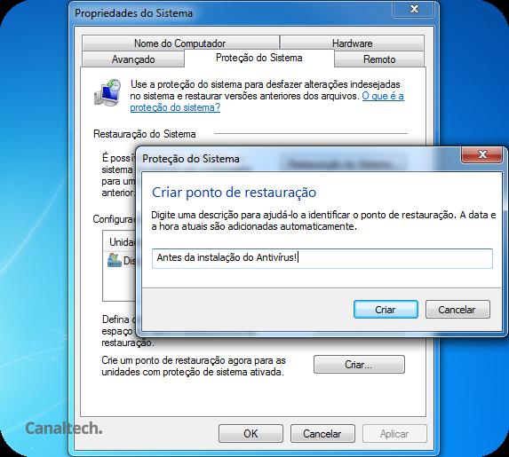 Nomear Ponto de Restauração Windows 7