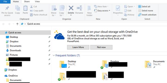 Propagandas estão começando a surgir no Explorador de Arquivos do Windows 10 oferecendo, aparentemente, assinaturas dos mais diversos tipos de produtos da Microsoft. Na imagem, oferta do OneDrive que apareceu para um usuário do Reddit