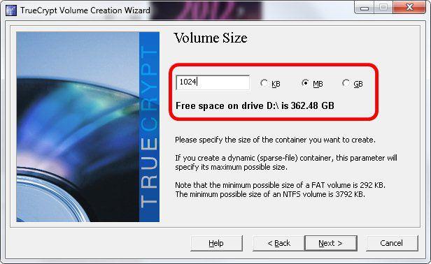 6 - Escolha do tamanho do arquivo criptográfico no Truecrypt