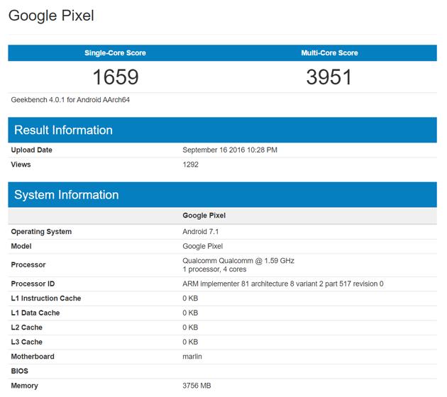 Especificações do Google Pixel em teste de benchmark