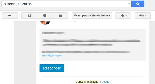 Cancelar inscrições Gmail