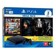 Console Playstation 4 Slim 1TB Bundle 9 + Grand Theft Auto V Premium Ed. + Death Stranding + The Last of Us Remasterizado + 3 Meses Playstation Plus