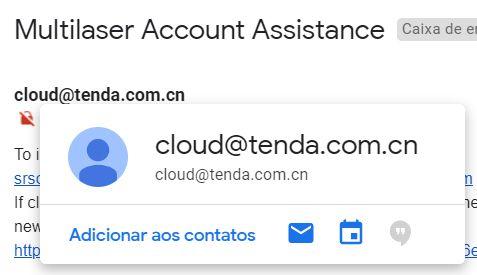 Ao realizar cadastro para gerenciamento remoto do Cosmo, o e-mail que chega à caixa de entrada é da Tenda