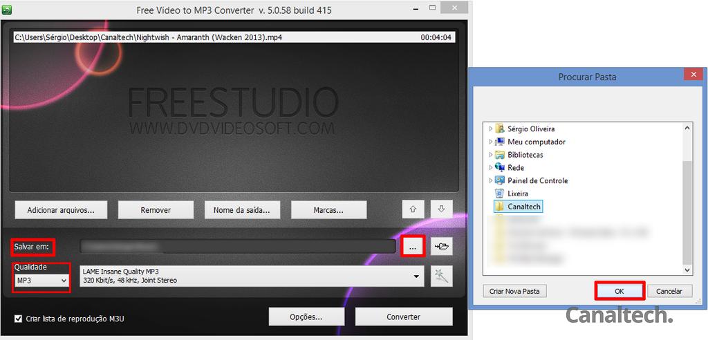 Defina o local onde o arquivo de saída será armazenado e selecione a qualidade de áudio final