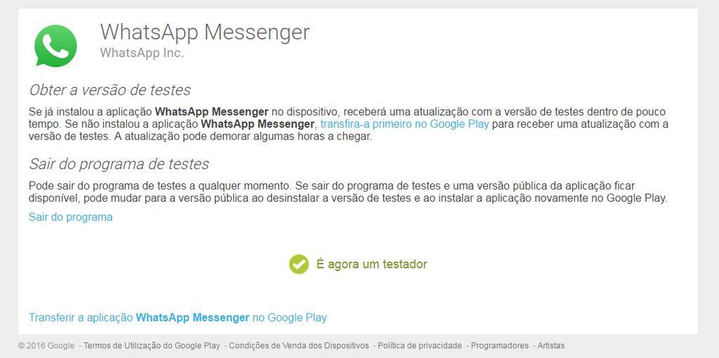 whatsapp teste beta