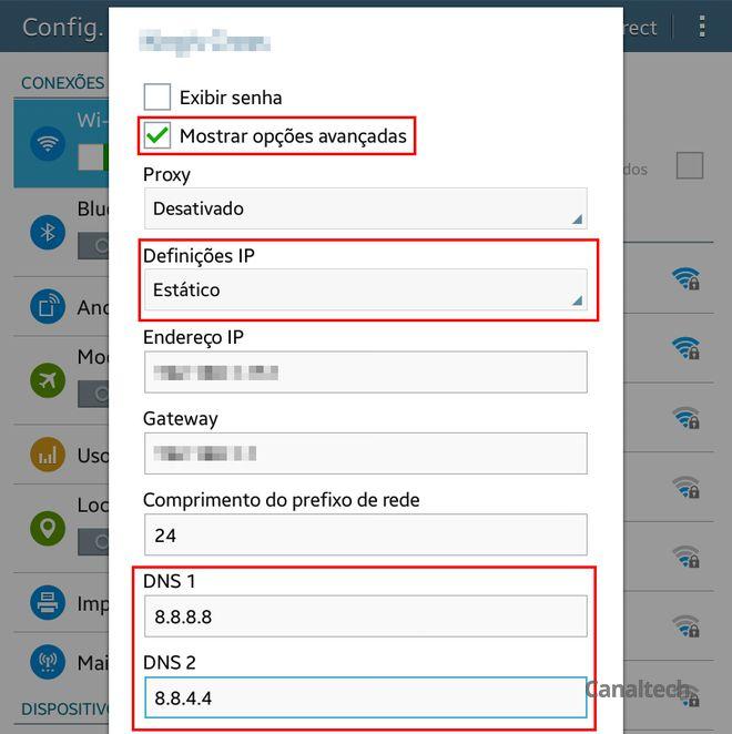 Os novos servidores DNS podem ser definidos setando as definições de IP para estáticas