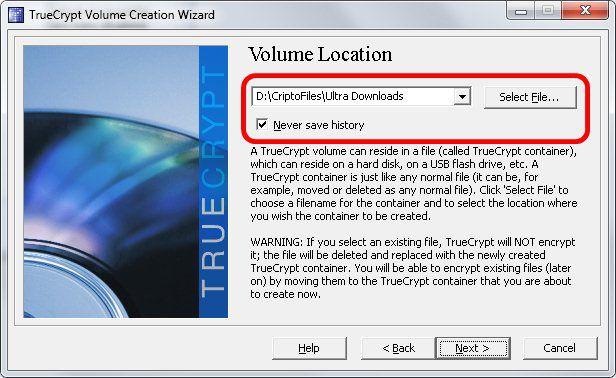 4 - Localização do arquivo Truecrypt