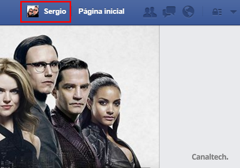Para começar a descobrir quem desfez amizade com você no Facebook, clique no seu nome na barra superior da rede social