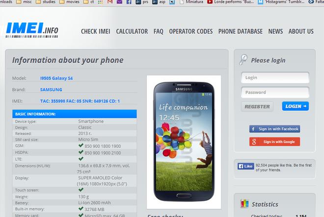 IMEI Galaxy S4