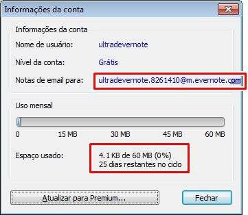 E-mail pessoal do Evernote e cota de uso