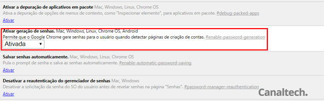 Ative o gerador de senhas do Chrome nas configurações do navegador