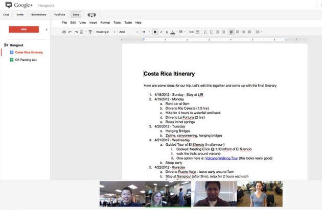 Hangout no Google Docs