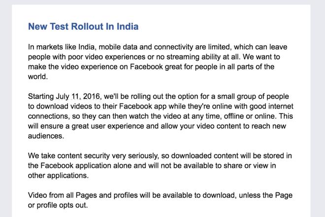 Facebook vídeos offline