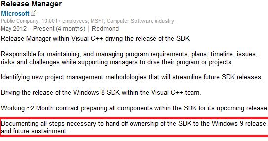 Perfil funcionário Microsoft Windows 9