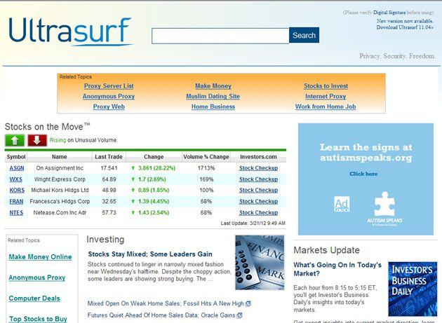 Página inicial do Ultrasurf