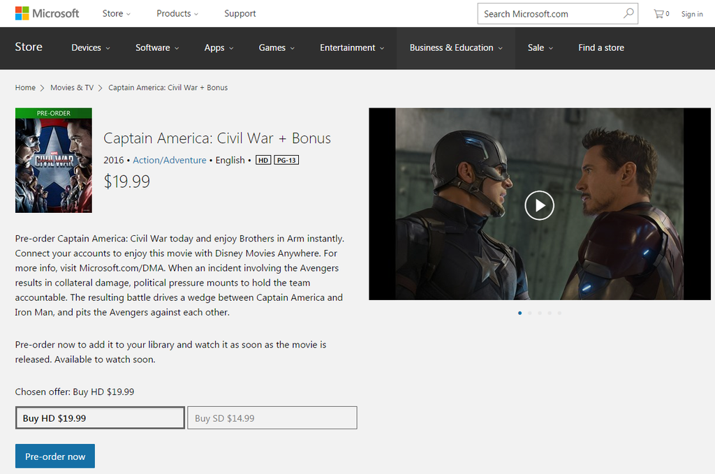 Capitão America Windows Store