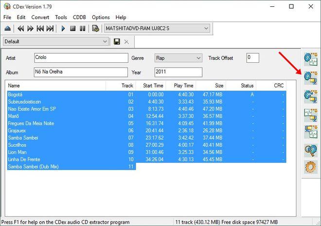 Copiar música do CD para o PC