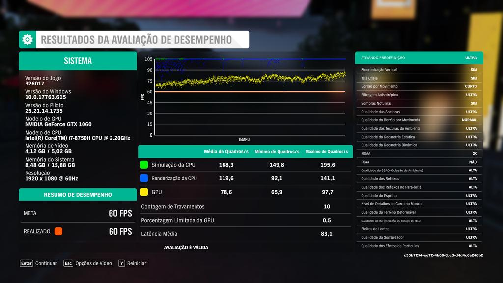 Mesmo com as configurações no Ultra e sem a otimização dinâmica ativada, Forza Horizon 4 rodou bem no Legion Y530 e se manteve acima dos 60 FPS