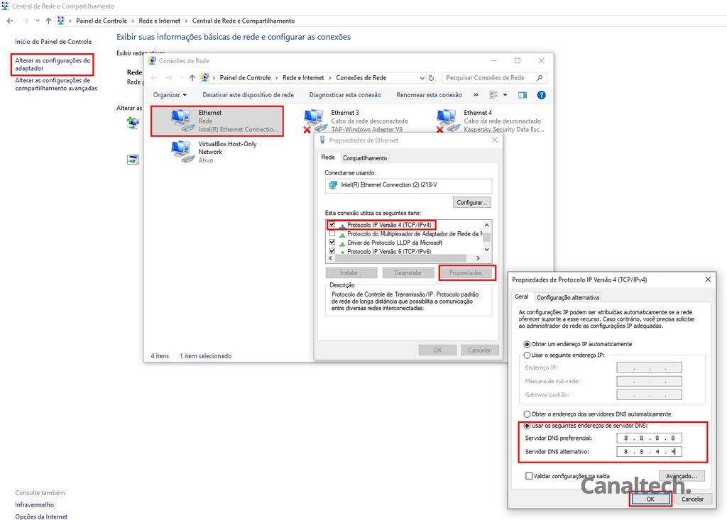 No Windows, a mudança de servidor DNS deve ser feita pelo Painel de Controle