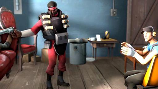 Cena de Pulp Fiction recriada com base no jogo Team Fortress 2