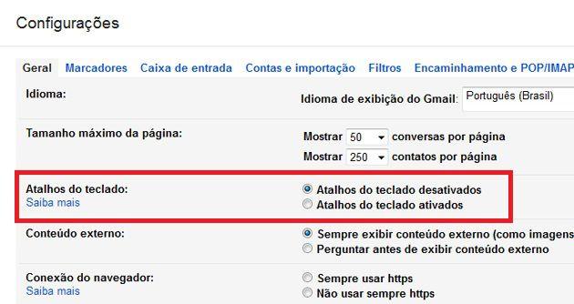 Configuração Atalho Gmail