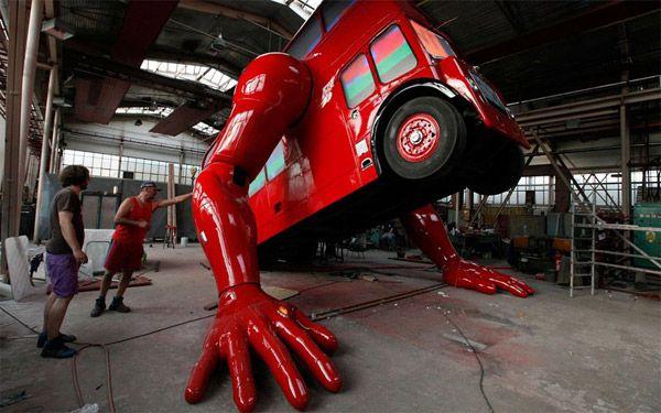 Ônibus que faz flexões