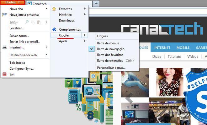 Acesse as opções do Firefox para configurar o navegador