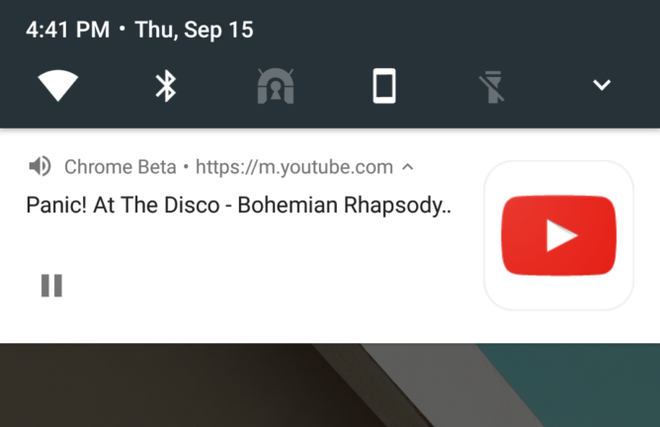 YouTube Chrome 54 Android