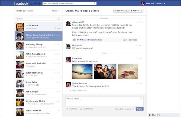 Novo layout de mensagens no Facebook