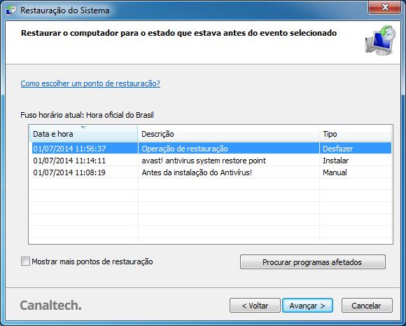 Desfazer Restauração do Sistema Windows 7