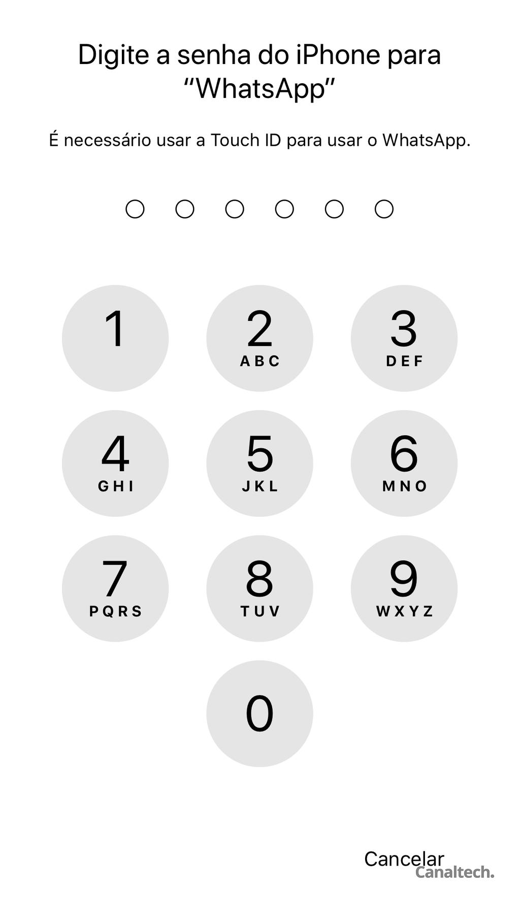 Caso ocorra alguma falha na autenticação biométrica, ainda será possível inserir a senha para liberar o WhatsApp