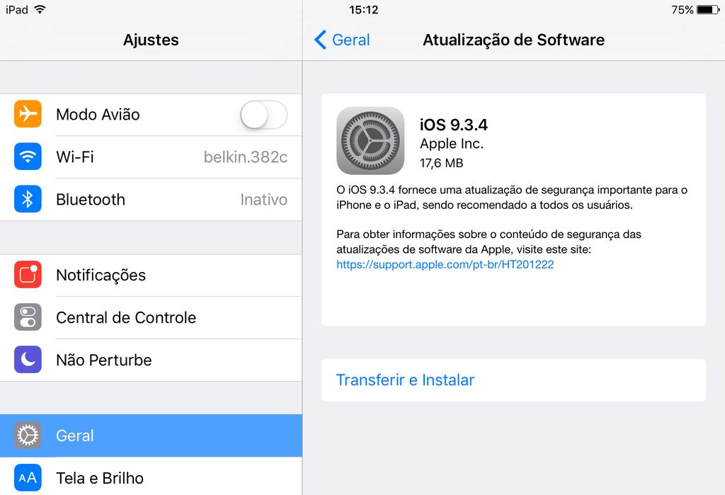 Atualização iOS 9.3.4