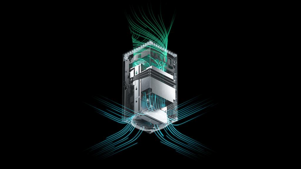 Representação de como funciona o arrefecimento do Xbox Series X. Ventoinha posicionada na parte superior