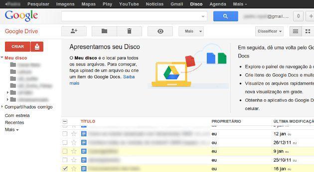 Tela inicial Google Docs
