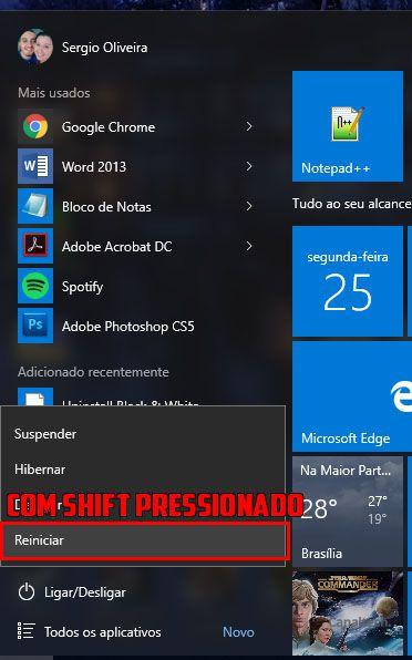 Reinicie seu computador em Modo de Segurança