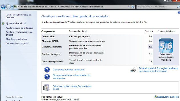 Benchmark do Windows