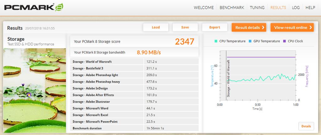 Comparativo entre os testes realizados pelo PCMark Storage no SSD da Micron e no HDD da Toshia - discrepância é gigantesca e favorável ao SSD