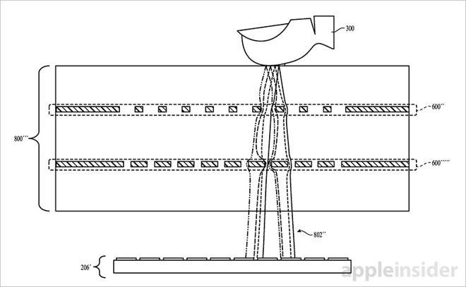 Ilustração mostra como o campo elétrico é alterado quando o usuário põe o dedo sobre a tela do dispositivo. Lentes eletrostáticas captam essas alterações e as comparam com padrões registrados anteriormente