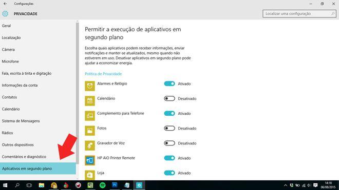Apps em segundo plano - Windows 10