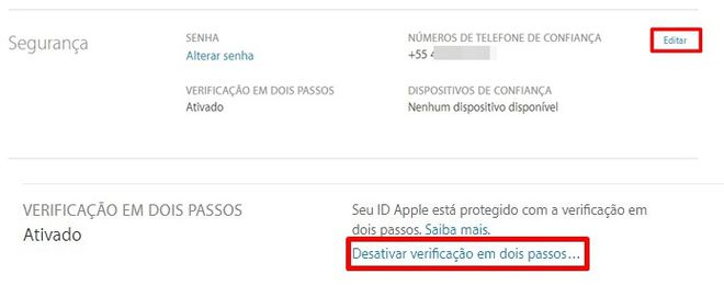 Verificação duas etapas iOS