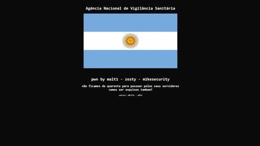 Site da Anvisa é invadido e exibe bandeira da Argentina