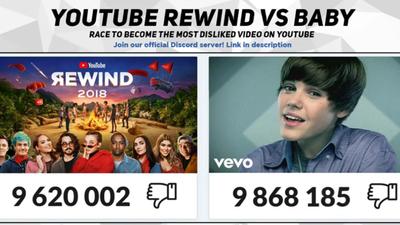 Canal transmite disputa de dislikes entre retrospectiva do YouTube e Bieber