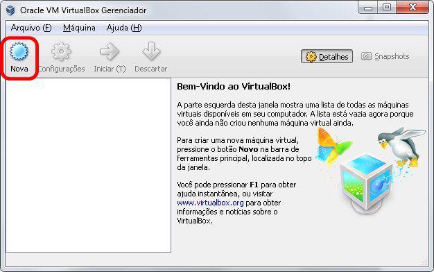 1 - Tela inicial do VirtualBox