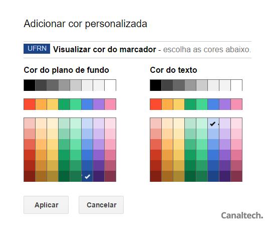 Cada marcador pode ser personalizado com uma cor específica