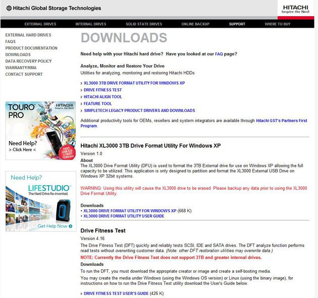 Página de downloads da fabricante de discos Hitachi