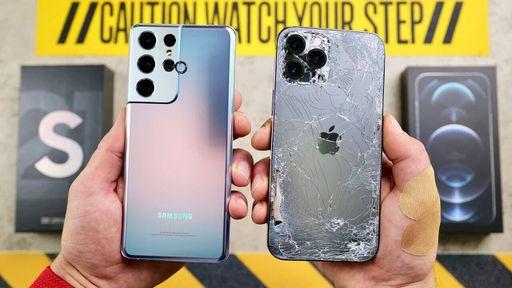 Galaxy S21 Ultra e iPhone 12 Pro Max se enfrentam em duro teste de quedas; veja